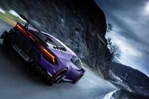 Purple Lamborghini Rear Wallpaper