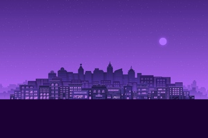 Purple Moon Stars Buildings City Minimal 4k Wallpaper