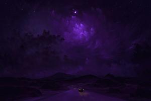 Purple Night Ride 4k