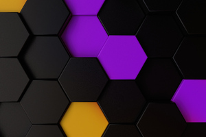 Purple Yellow Dark Polygon Abstract 5k