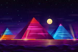 Pyramid Colorful Neon 4k Wallpaper