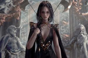 Queen In Black Dress 4k Wallpaper