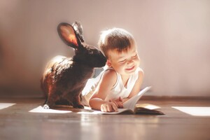 Rabbit And Children Cute Wallpaper
