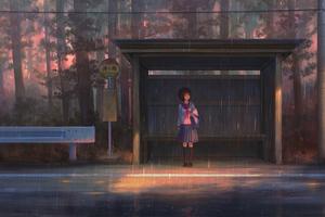 Rain Anime Girl Bustand 4k