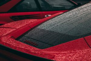 Rain Drops On Ferrari