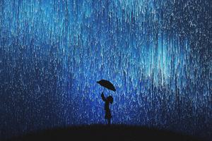 Rain Of Stars Little Girl With Umbrella Wallpaper