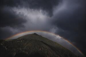 Rainbow Over Mountain Landscape Wallpaper