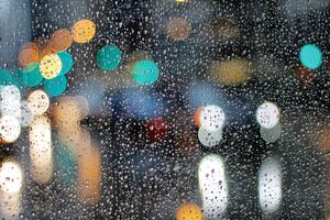 Rainy Day Drops On Glass Lights Bokeh 5k Wallpaper