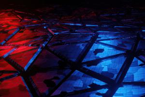 Red And Blue Broken Abstract 4k