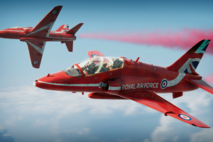 Red Arrows Plane Art 4k Wallpaper