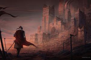 Red City Walking Towards 5k Wallpaper