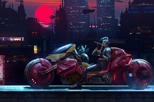 Red Cyber Punk Bike 4k Wallpaper