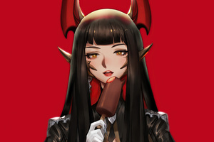 Red Demon Anime Girl 5k