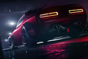 Red Dodge Challenger Rear 4k