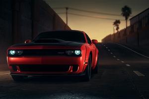 Red Dodge Challenger Srt 8k Wallpaper