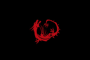 Red Dragon Black Minimal 4k