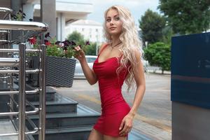 Red Dress Beauty Outdoor Wallpaper