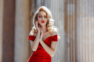Red Dress Blonde Girl 4k Wallpaper