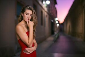 Red Dress Blonde Girl Outdoor Evening Wallpaper