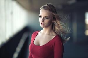 Red Dress Blonde Wallpaper