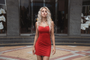 Red Dress Blonde Model