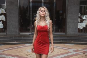 Red Dress Blonde Model Wallpaper