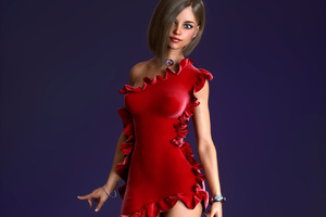 Red Dress Girl 3D Cgi 4k Wallpaper