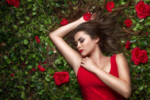 Red Dress Girl Flower Bed 4k Wallpaper