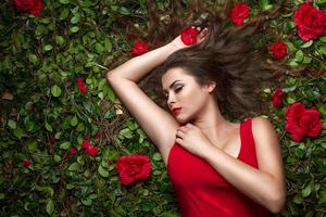 Red Dress Girl Flower Bed 4k Wallpaper
