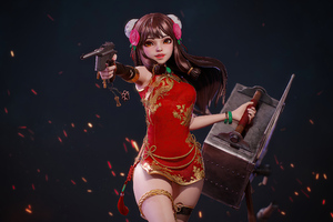 Red Dress Girl With Gun 4k Wallpaper
