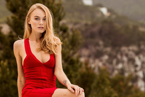 Red Dress Model Outdoor Wallpaper