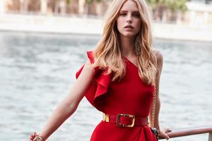 Red Dress Model Posing Wallpaper