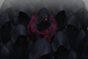 Red Eyes Crowds Rain Hoods Wallpaper