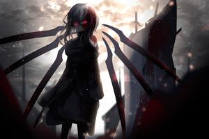 Red Glowing Eyes Anime Girl 5k Wallpaper