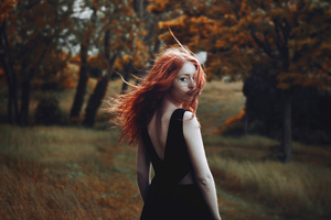 Red Hair Girl Hair In Air 4k