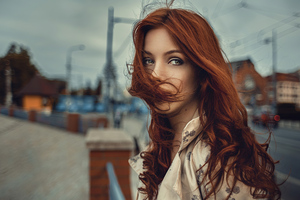 Red Hair In Face Wind Blowing 4k Wallpaper