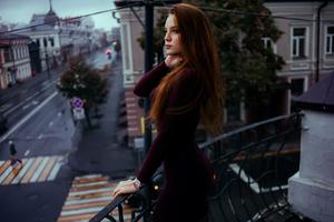 Red Hair Women In Balcony Wallpaper