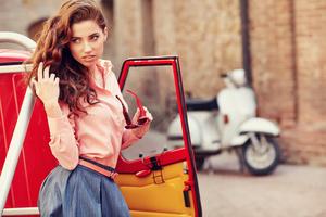 Red Head Girl Bokeh Posing With Car 4k