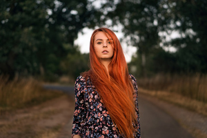 Red Head Girl Outdoor Road 4k Wallpaper