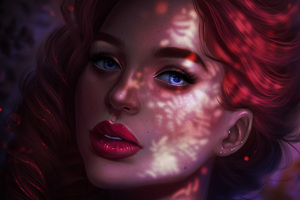 Red Head Girl Portrait Face Closeup