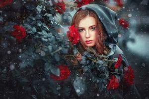 Red Head Girl Red Flowers 4k Wallpaper