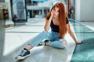 Red Head Girl Sitting On Floor Looking At Viewer 4k Wallpaper
