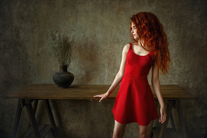 Red Head Girl Wavy Hair Wallpaper