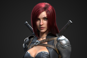Red Head Warrior Girl 4k Wallpaper