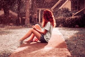 Red Head Women Barefoot Sitting Outside Wallpaper