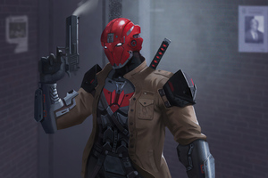 Red Hood Gun Up 4k Wallpaper