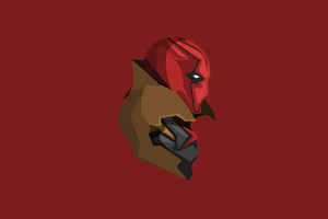 Red Hood Minimalism 4k Wallpaper