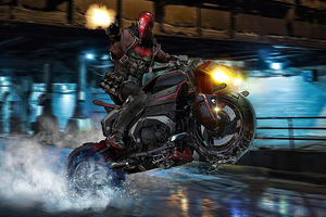 Red Hood On Bike Wallpaper