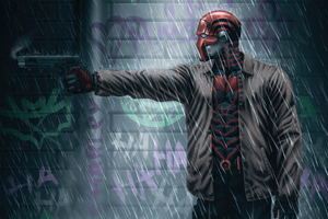 Red Hood Shotting In Rain 4k Wallpaper