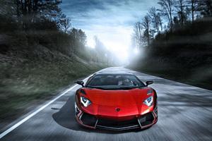 Red Lamborghini Aventador 2018